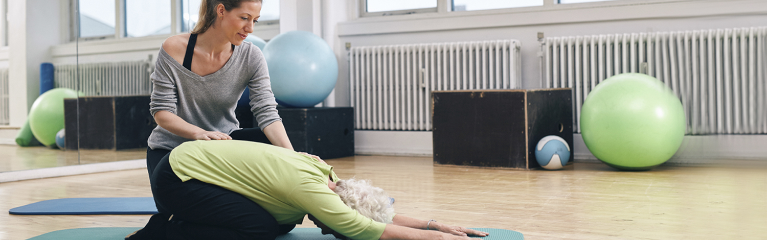 Image of teacher assisting yoga student in downdog