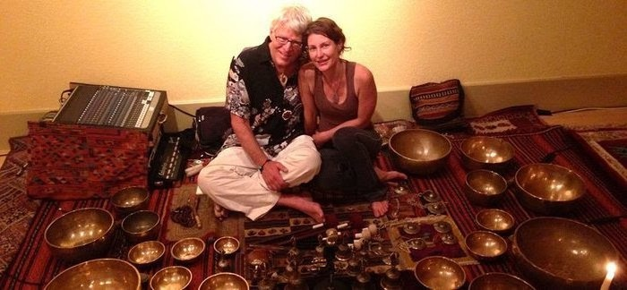 Christy Brown + Karma Moffet lead Yoga Om Bells, an evening of Yin Yoga, Tibetan bowl + bell sound bath and the poetry of Rumi, Saturday, December 14 at YogaWorks Larkspur in Marin County North Bay area.