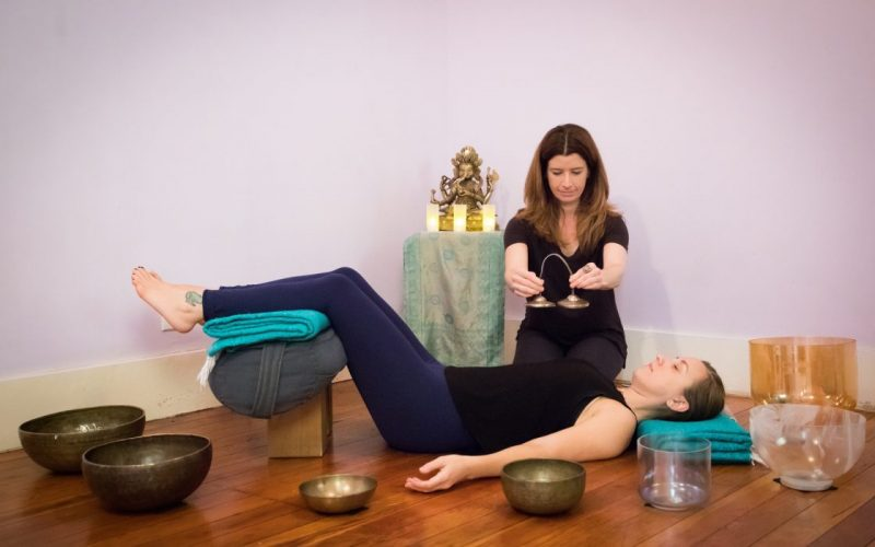 Yoga Lounge: Restorative Yoga with Sound Healing + Acutonics, a yoga and sound meditation workshop to be led by Estee Fletter + Cindy Meiri April 13 and December 14 at Yoga Tree SF Valencia in the San Francsico Bay Area.