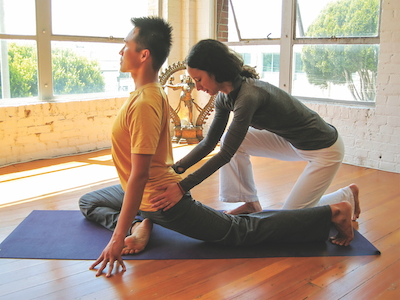 Yoga teacher Jill Abelson, who will leads Asana Lab, a Jivamukti Yoga-based workshop to be held April 27 at YogaWorks Larkspur in the San Francisco SF Bay Area..
