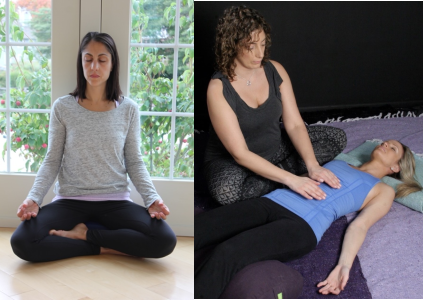 Melissa Jhunja and Jody Raso lead Winter Renewal: Reiki, Restorative & Yoga Nidra, a yoga workshop on Saturday, January 25 @ YogaWorks NYC Westchester in Irvington, New York.