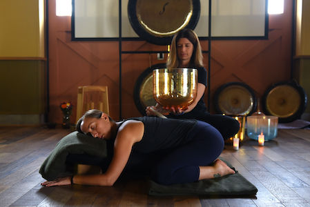 Estee Fletter + Cindy Meiri lead Yoga Lounge: Restorative Yoga with Sound Healing + Acutonics,, a yoga and sound meditation workshop, February 15 + December 13 at Yoga Tree SF Valencia in the San Francsico Bay Area.